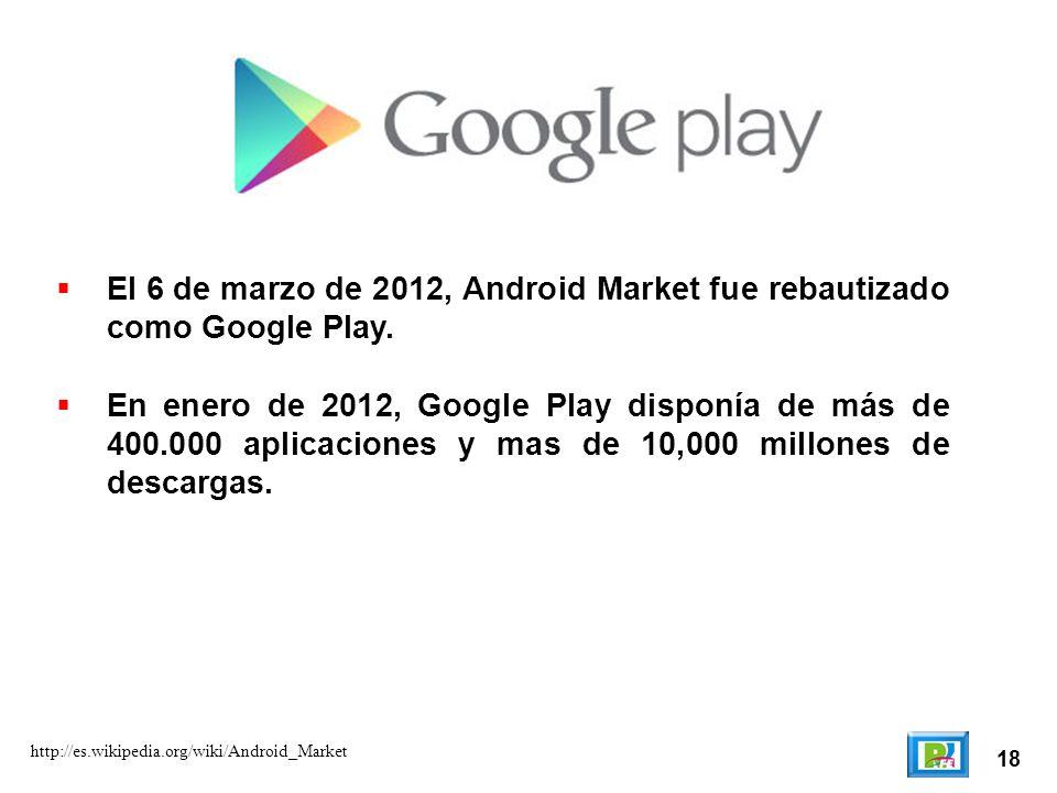 El 6 de marzo de 2012, Android Market fue rebautizado como Google Play.