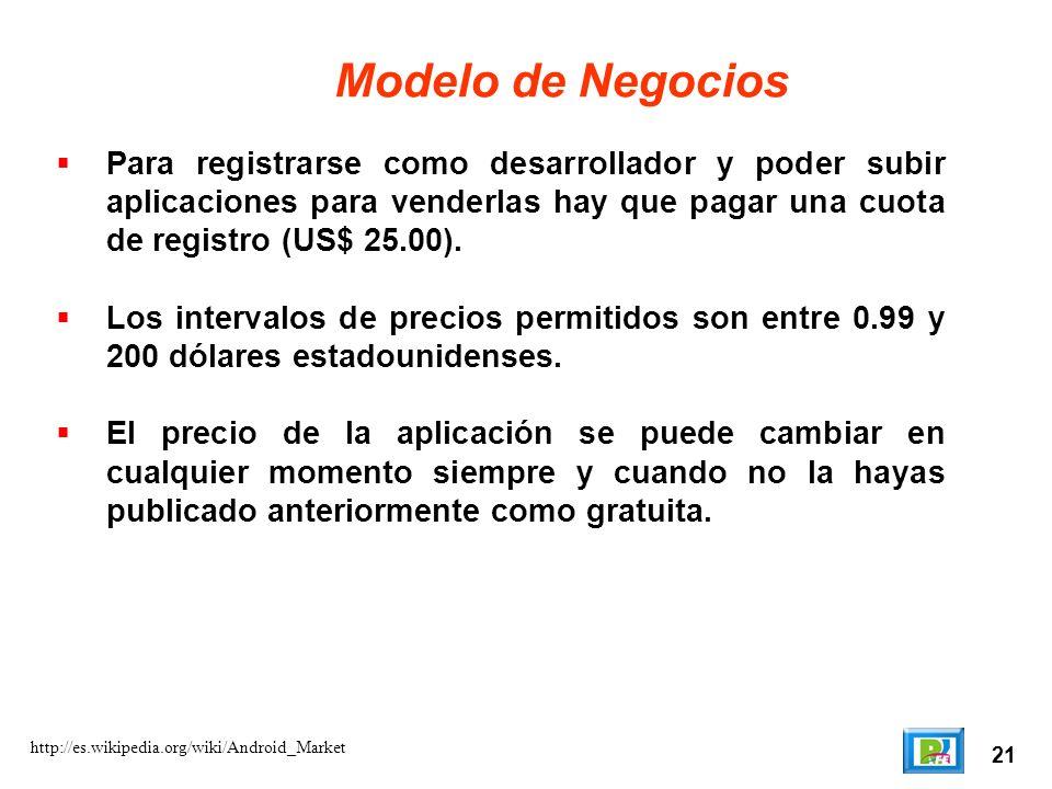 Modelo de Negocios Para registrarse como desarrollador y poder subir aplicaciones para venderlas hay que pagar una cuota de registro (US$ 25.00).