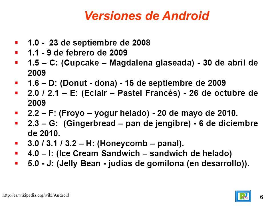 Versiones de Android 1.0 - 23 de septiembre de 2008