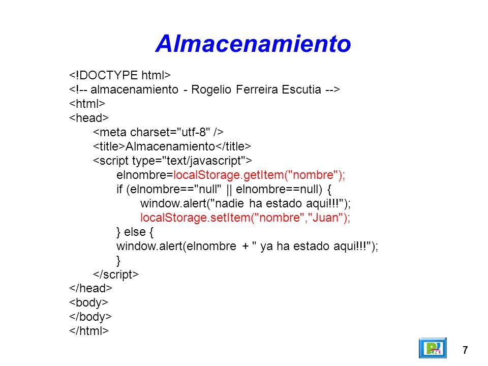 Almacenamiento <!DOCTYPE html>