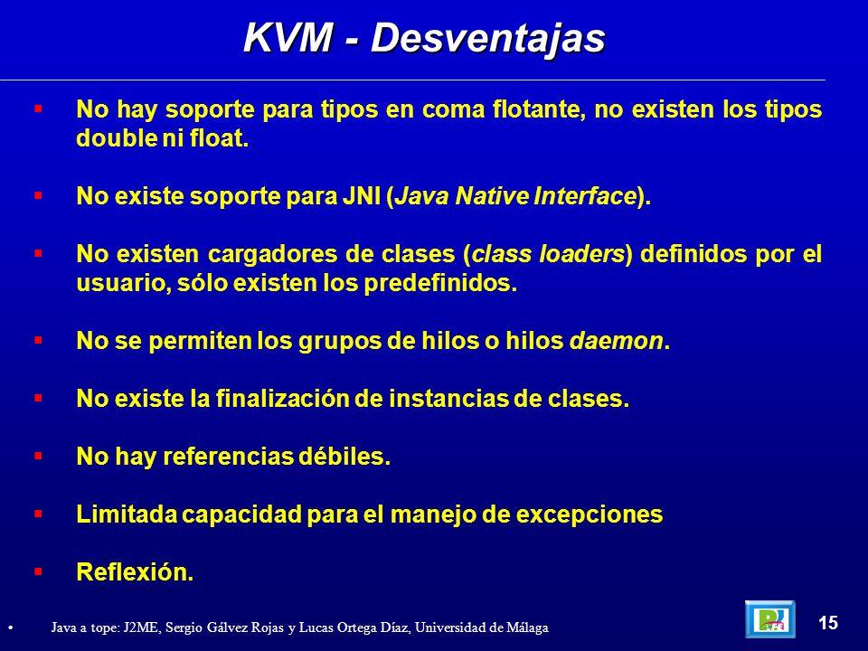 KVM - DesventajasNo hay soporte para tipos en coma flotante, no existen los tipos double ni float.
