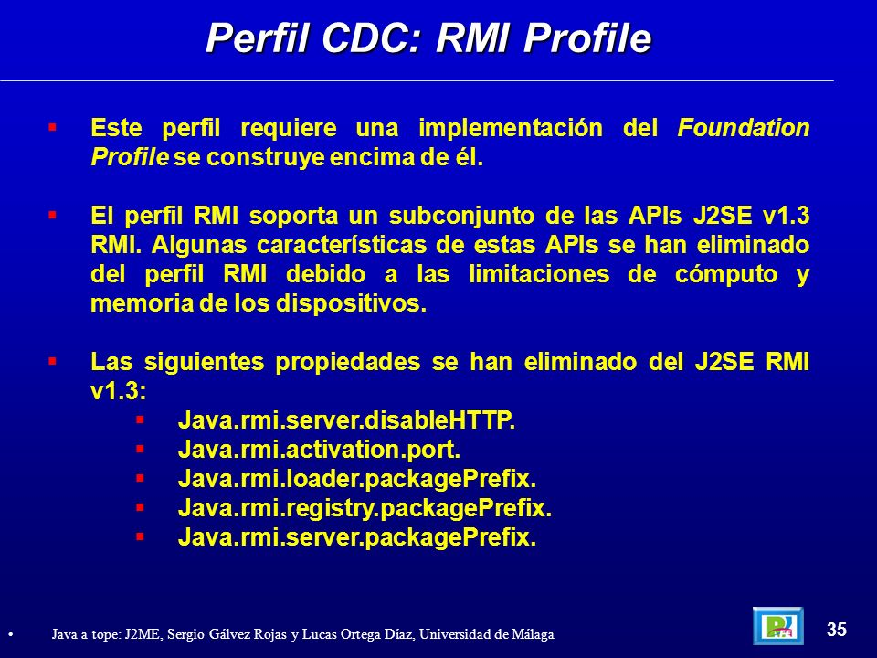 Perfil CDC: RMI Profile