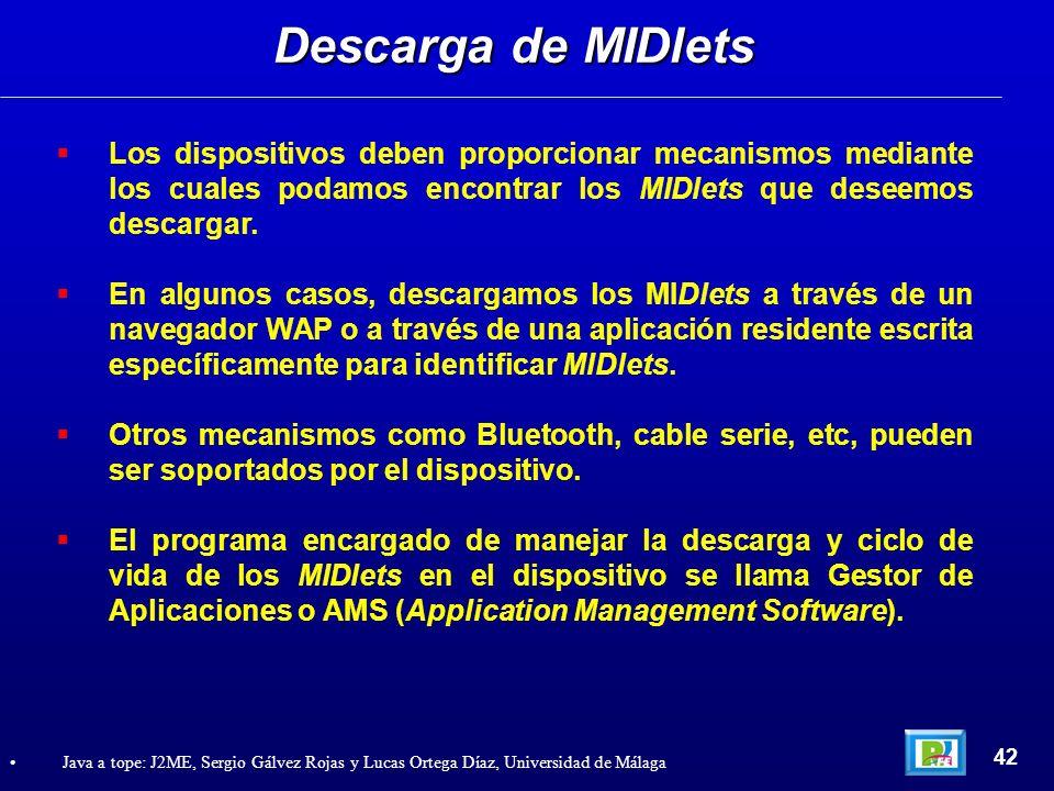 Descarga de MIDlets Los dispositivos deben proporcionar mecanismos mediante los cuales podamos encontrar los MIDlets que deseemos descargar.