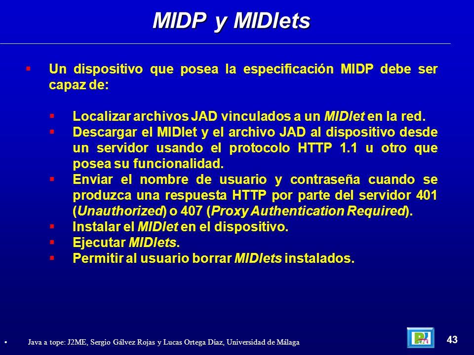 MIDP y MIDlets Un dispositivo que posea la especificación MIDP debe ser capaz de: Localizar archivos JAD vinculados a un MIDlet en la red.