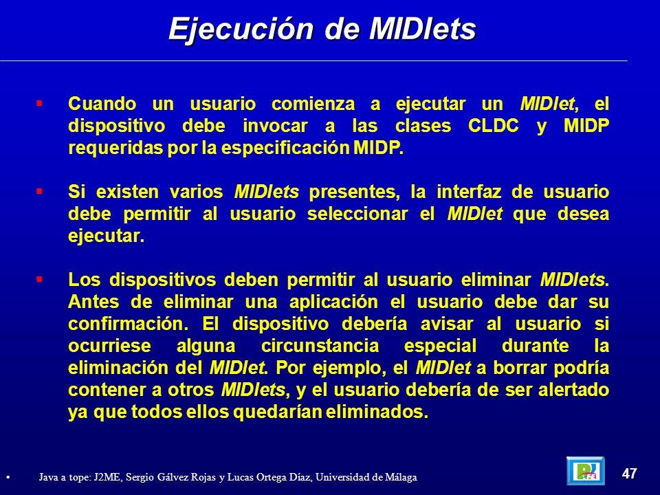 Ejecución de MIDlets