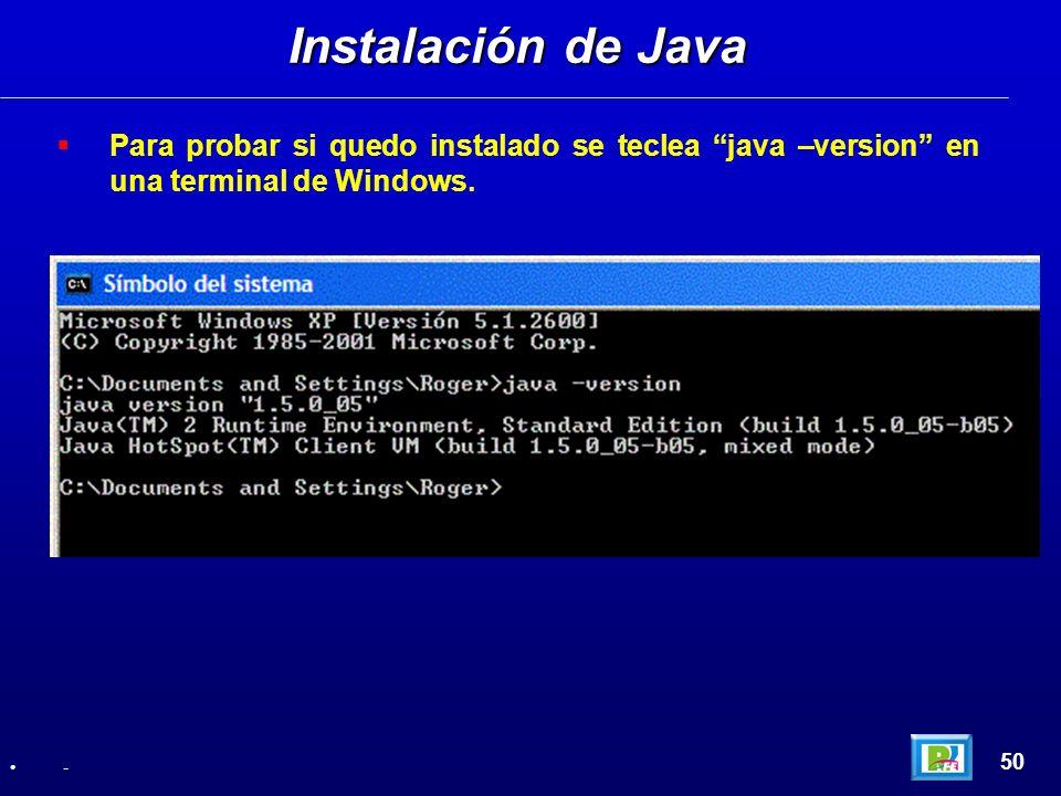 Instalación de Java Para probar si quedo instalado se teclea java –version en una terminal de Windows.