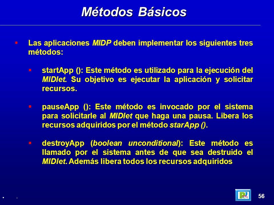 Métodos Básicos Las aplicaciones MIDP deben implementar los siguientes tres métodos: