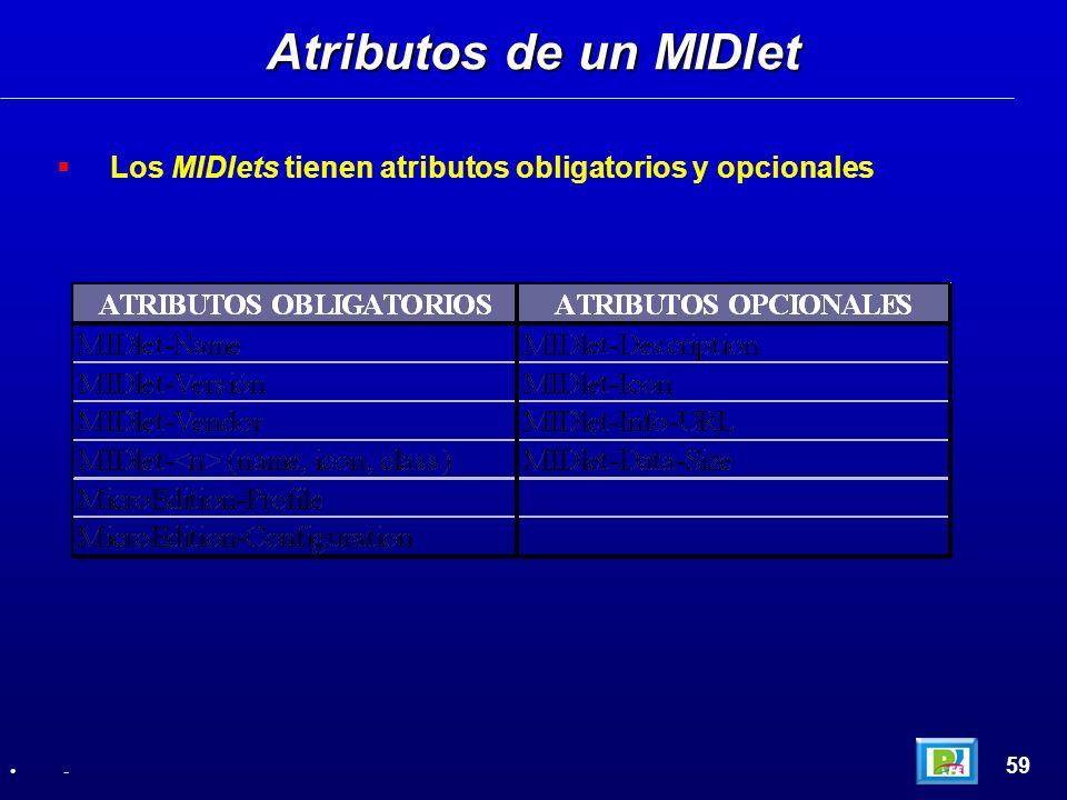Atributos de un MIDlet Los MIDlets tienen atributos obligatorios y opcionales 59 -