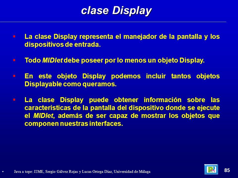 clase Display La clase Display representa el manejador de la pantalla y los dispositivos de entrada.