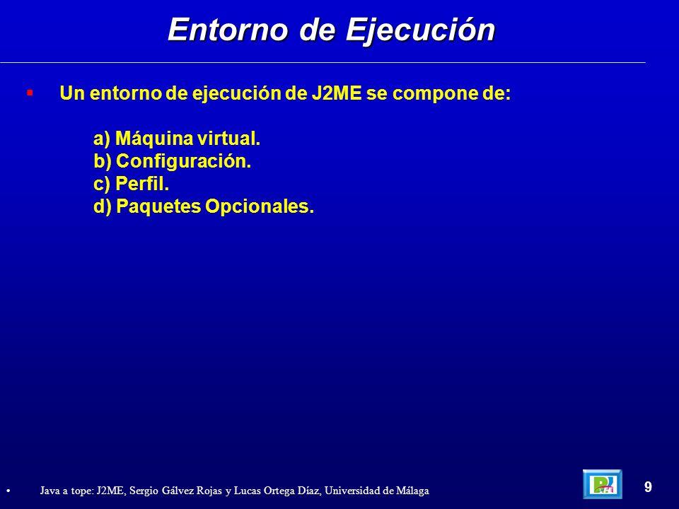 Entorno de Ejecución Un entorno de ejecución de J2ME se compone de: