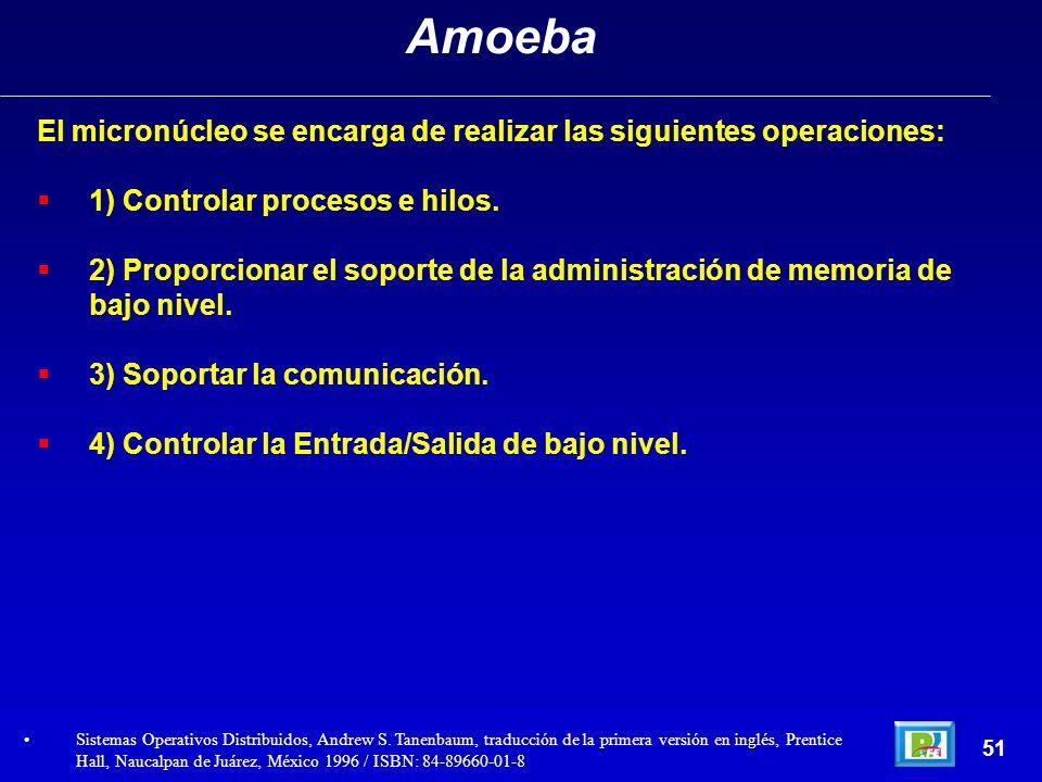 Amoeba El micronúcleo se encarga de realizar las siguientes operaciones: 1) Controlar procesos e hilos.