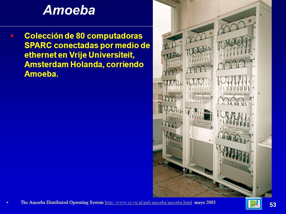 Amoeba Colección de 80 computadoras SPARC conectadas por medio de ethernet en Vrije Universiteit, Amsterdam Holanda, corriendo Amoeba.