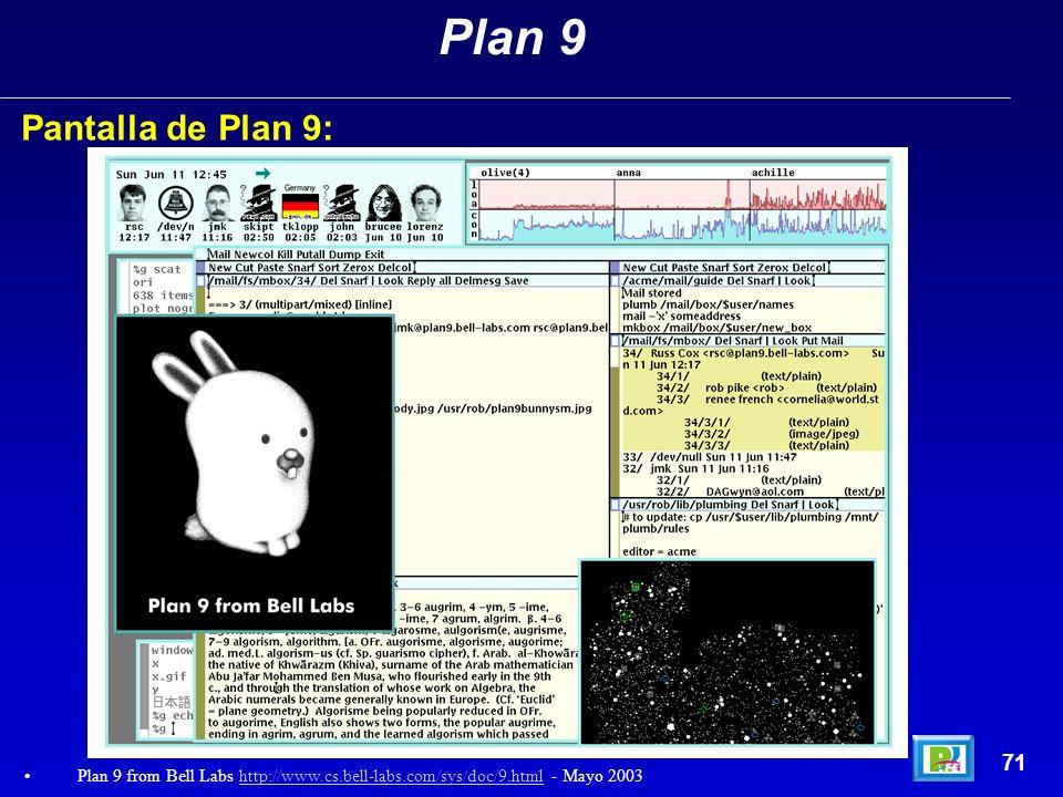 Plan 9Pantalla de Plan 9: 71.