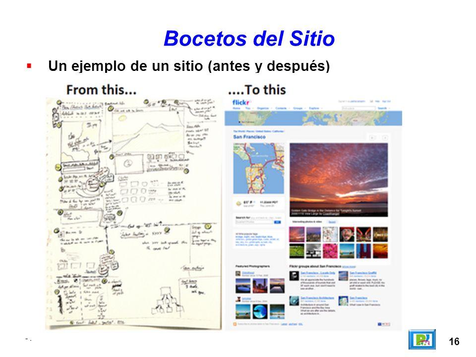 Bocetos del Sitio Un ejemplo de un sitio (antes y después) - . - . 16