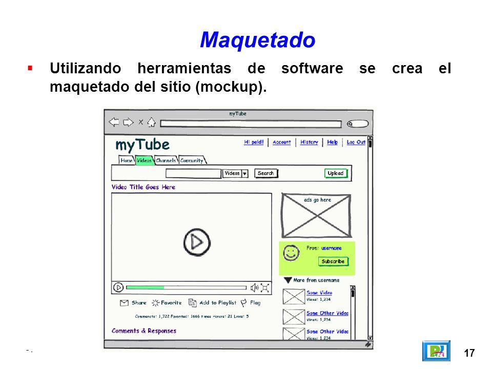 Maquetado Utilizando herramientas de software se crea el maquetado del sitio (mockup). - . - . - .