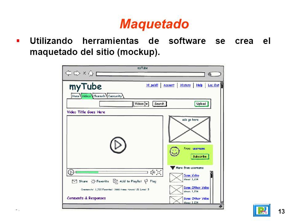 Maquetado Utilizando herramientas de software se crea el maquetado del sitio (mockup). - . 13