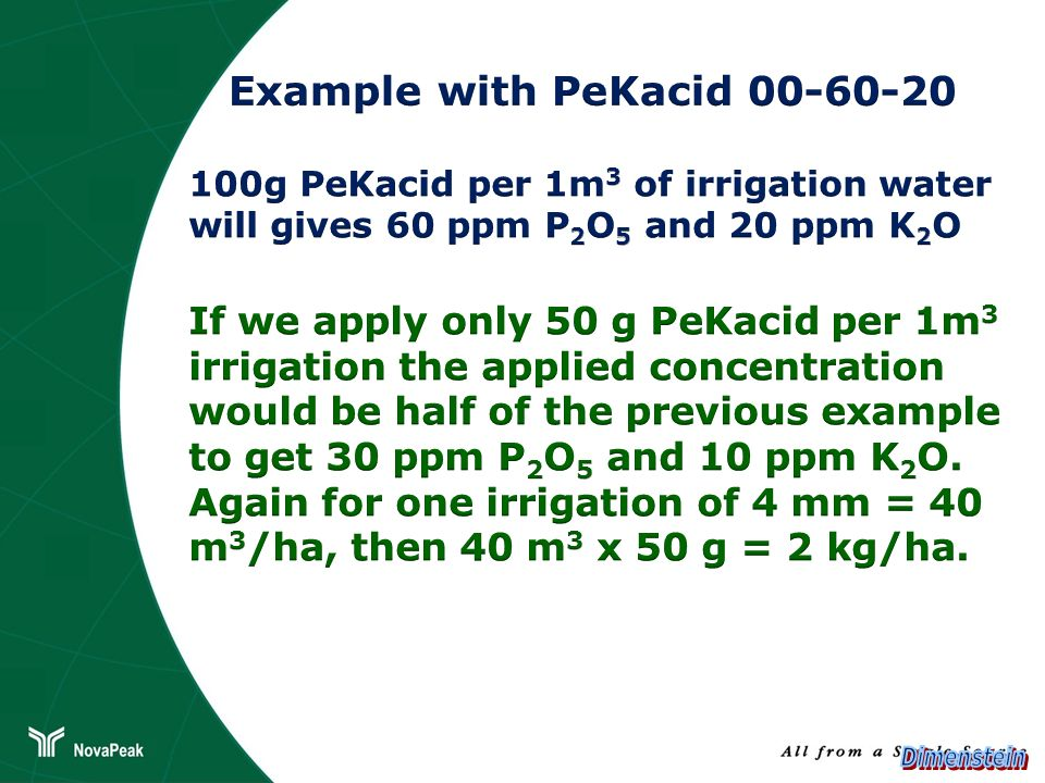 Example with PeKacid 00-60-20