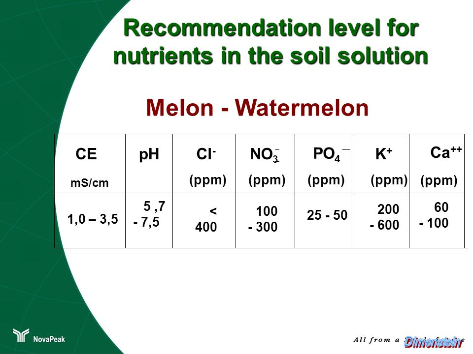 Recommendation level for nutrients in the soil solution