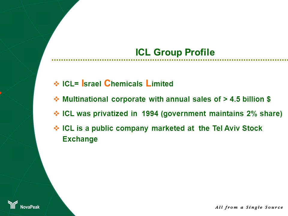 ICL Group Profile ICL= Israel Chemicals Limited