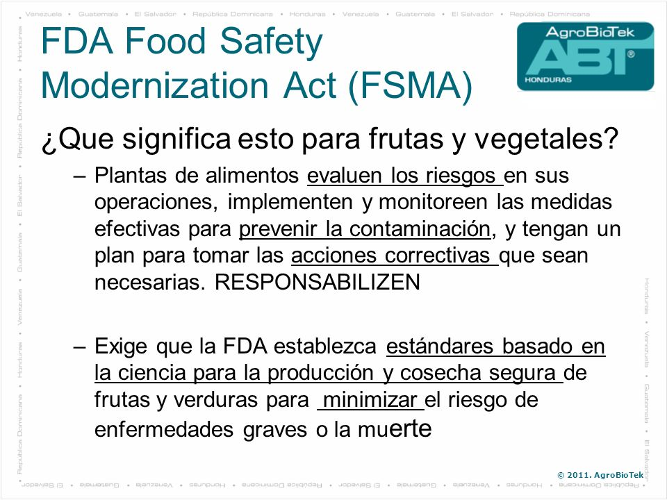 FDA Food Safety Modernization Act (FSMA)