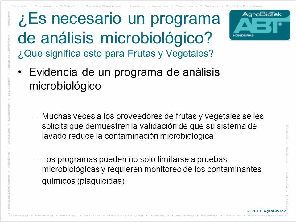 ¿Es necesario un programa de análisis microbiológico