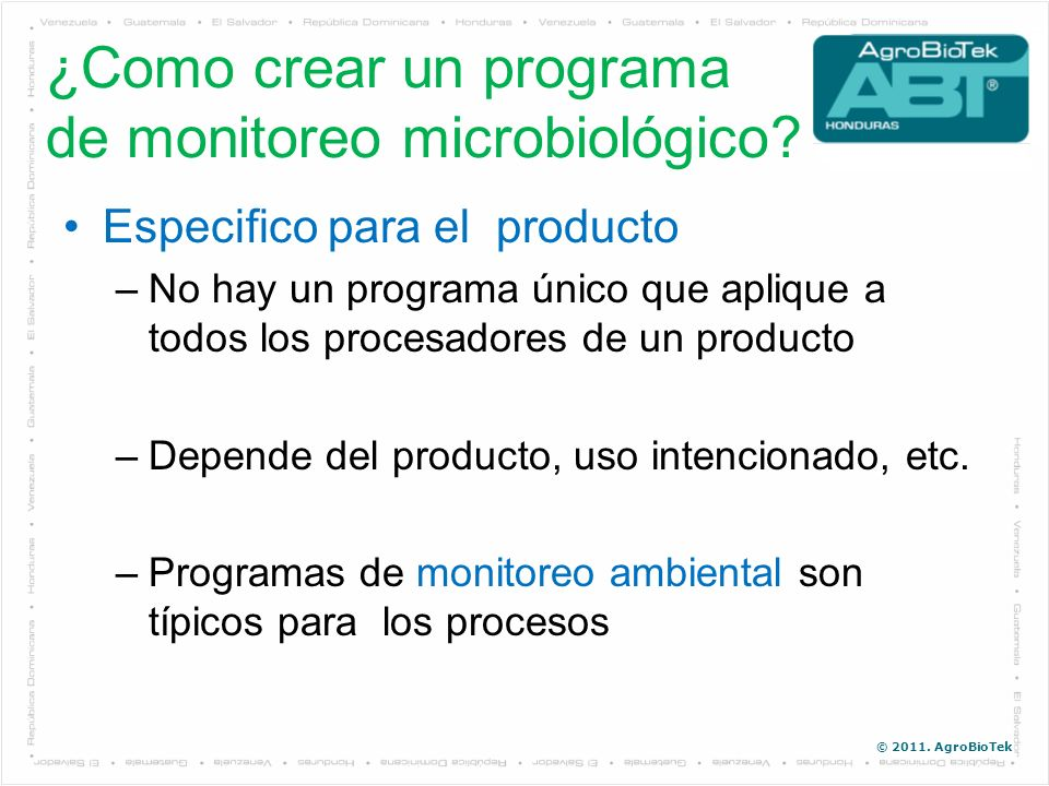 ¿Como crear un programa de monitoreo microbiológico