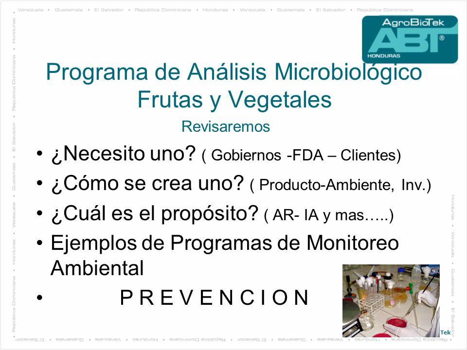Programa de Análisis Microbiológico Frutas y Vegetales