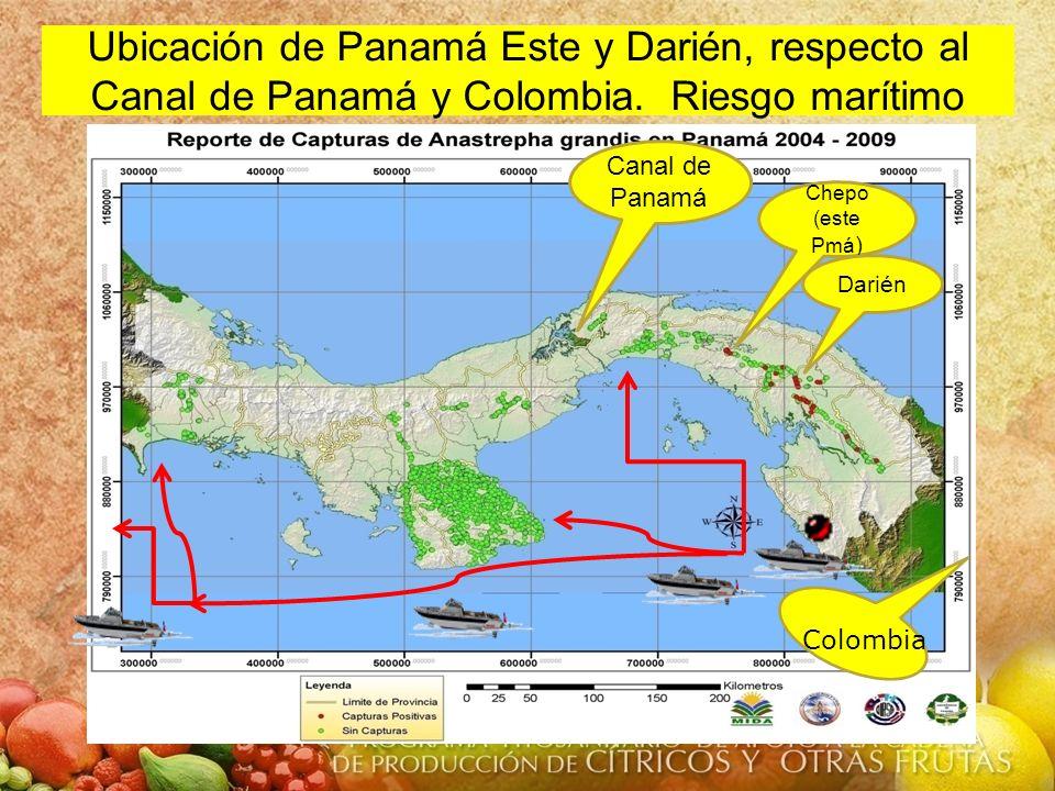 Ubicación de Panamá Este y Darién, respecto al Canal de Panamá y Colombia. Riesgo marítimo