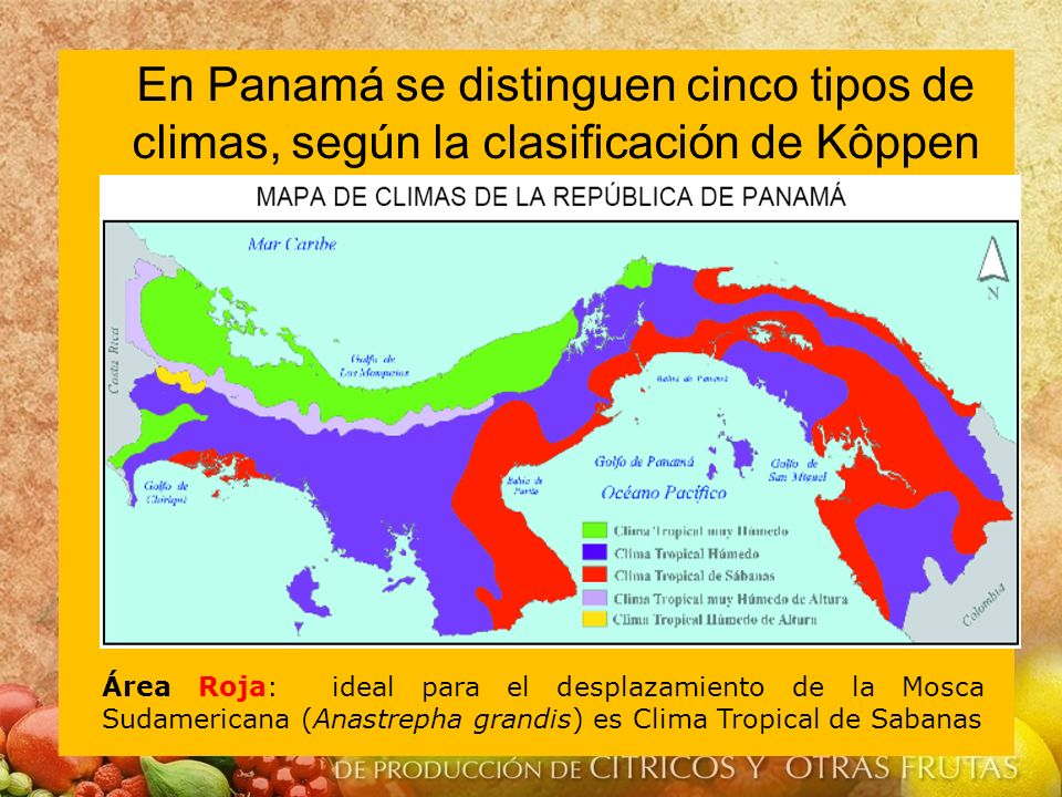 En Panamá se distinguen cinco tipos de climas, según la clasificación de Kôppen