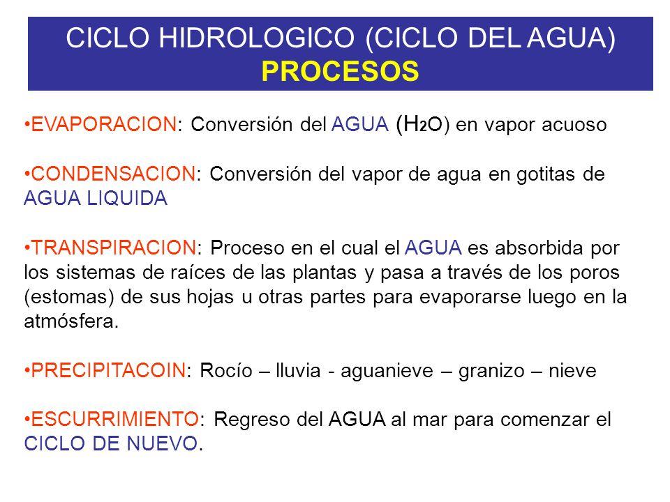 CICLO HIDROLOGICO (CICLO DEL AGUA) PROCESOS