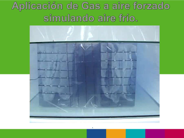 Aplicación de Gas a aire forzado simulando aire frío.