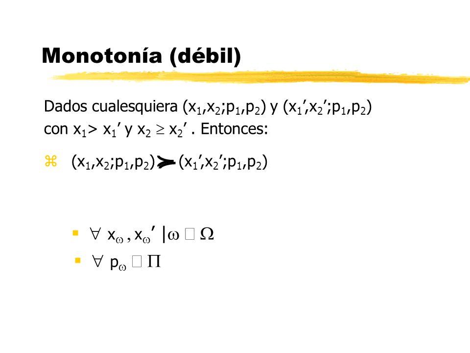 Monotonía (débil)  xw , xw' |w Î W  pw Î P