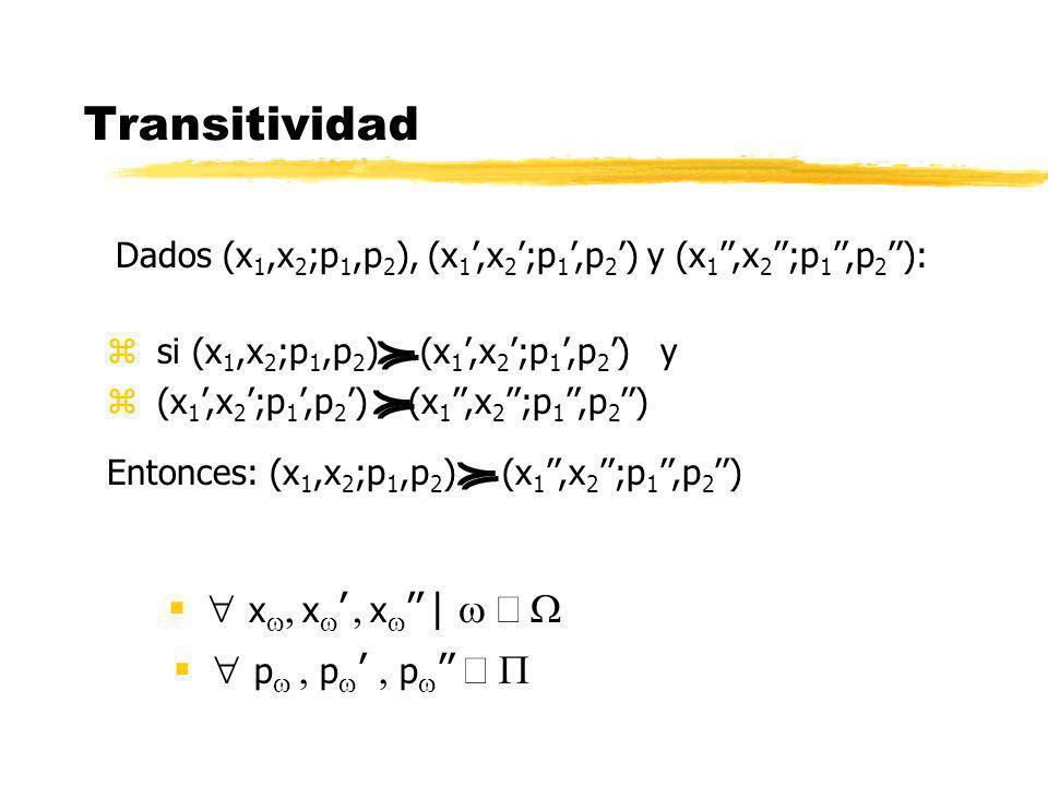 Transitividad  xw, xw' , xw'' | w Î W  pw , pw' , pw'' Î P