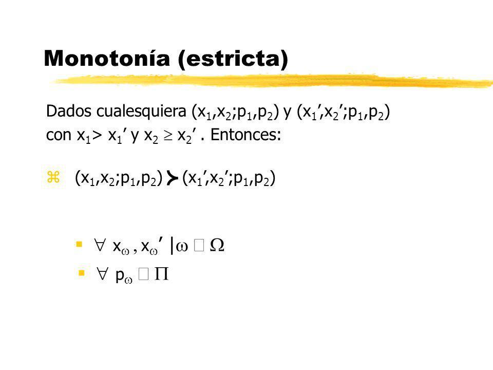 Monotonía (estricta)  xw , xw' |w Î W  pw Î P