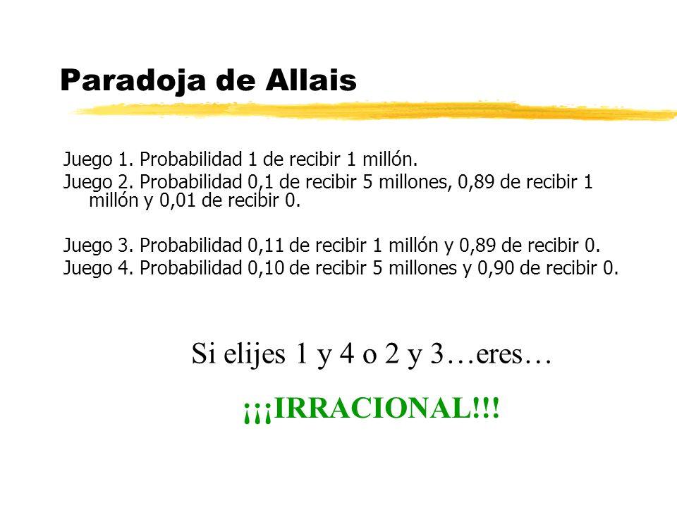 Paradoja de Allais Si elijes 1 y 4 o 2 y 3…eres… ¡¡¡IRRACIONAL!!!