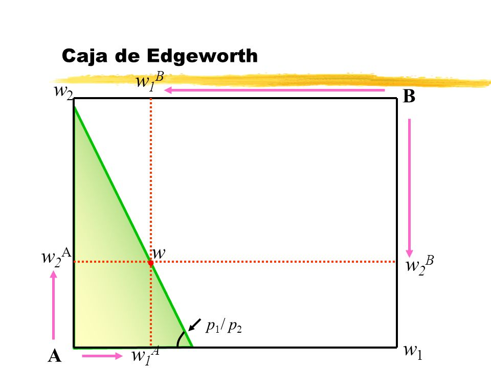 Caja de Edgeworth w1B w2 B w w2A w2B p1/ p2 w1 A w1A