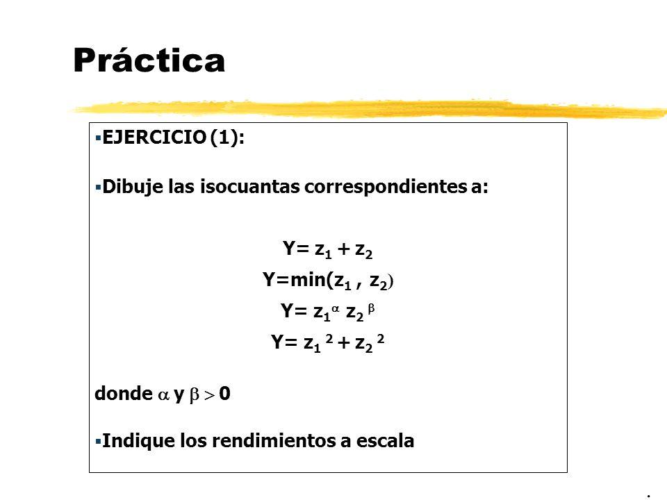 Práctica . EJERCICIO (1): Dibuje las isocuantas correspondientes a: