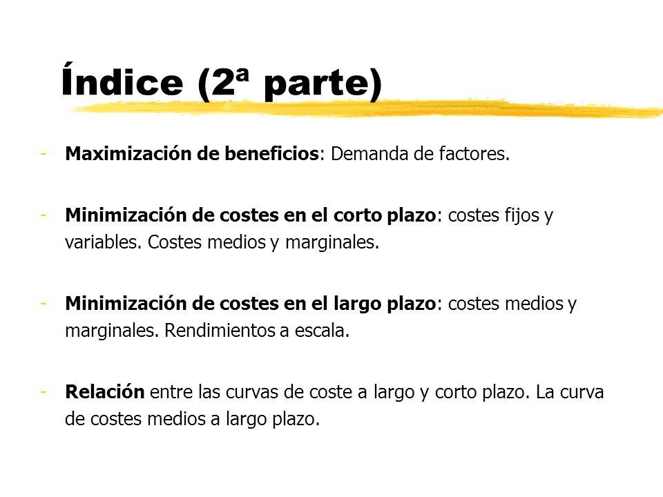 Índice (2ª parte) Maximización de beneficios: Demanda de factores.