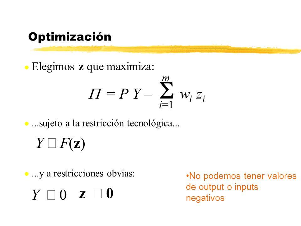 S wi zi P = P Y – Y £ F(z) z ³ 0 Y ³ 0 Optimización m i=1