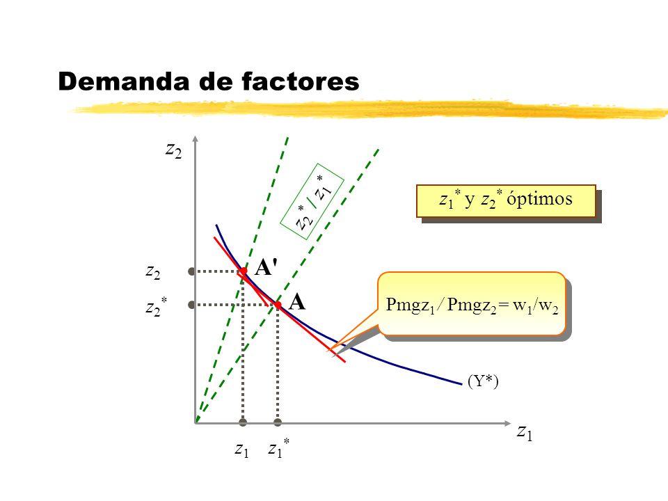 Demanda de factores A A z2 z1 z2* / z1* z1* y z2* óptimos z2 z2* z1