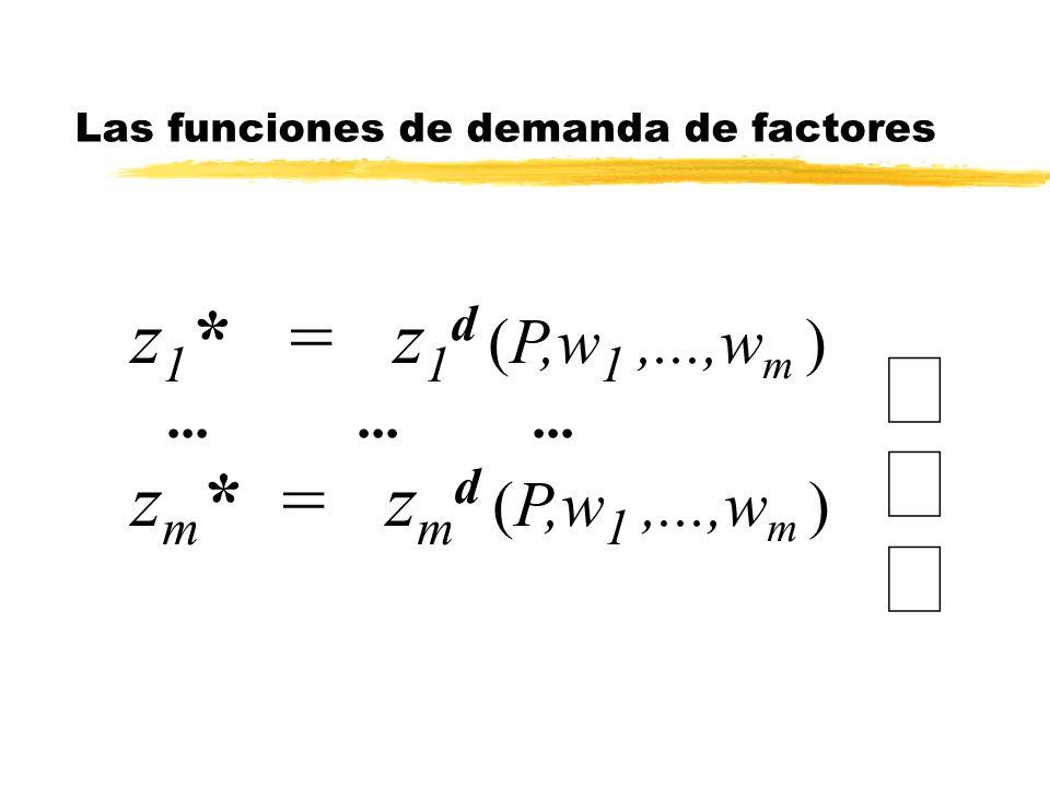 Las funciones de demanda de factores