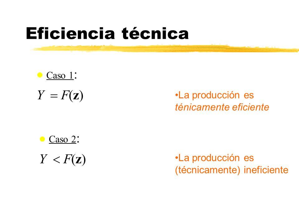 Eficiencia técnica Caso 1: Y = F(z) Caso 2: Y < F(z)