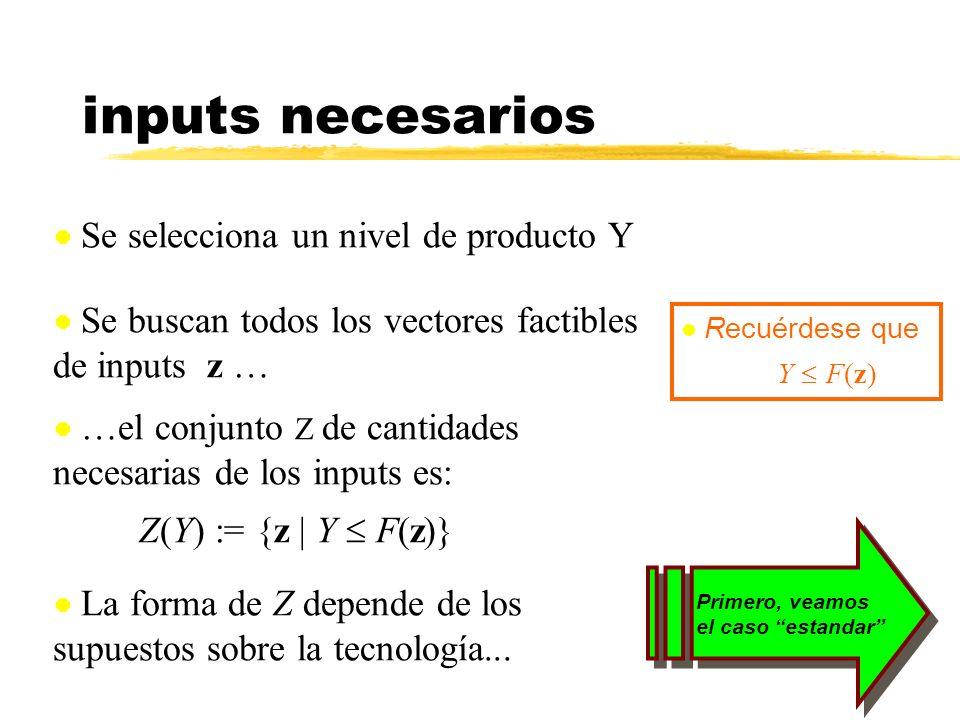 inputs necesarios Se selecciona un nivel de producto Y