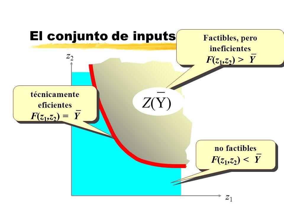 El conjunto de inputs necesarios