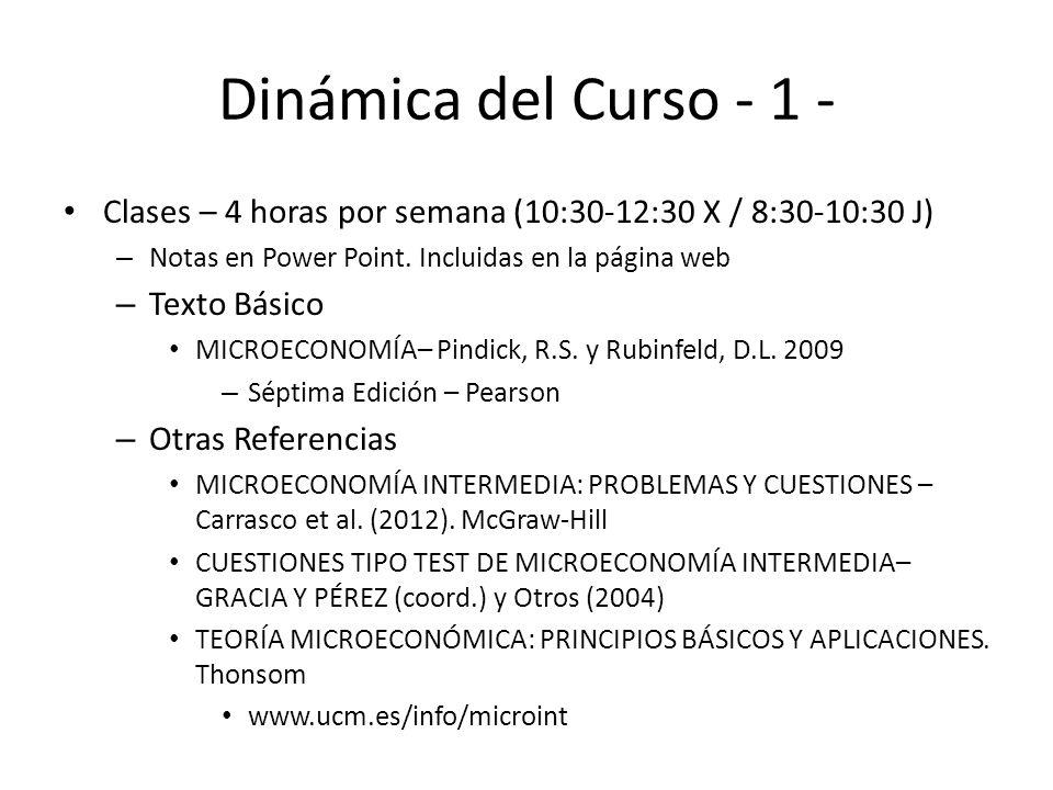 Dinámica del Curso - 1 - Clases – 4 horas por semana (10:30-12:30 X / 8:30-10:30 J) Notas en Power Point. Incluidas en la página web.