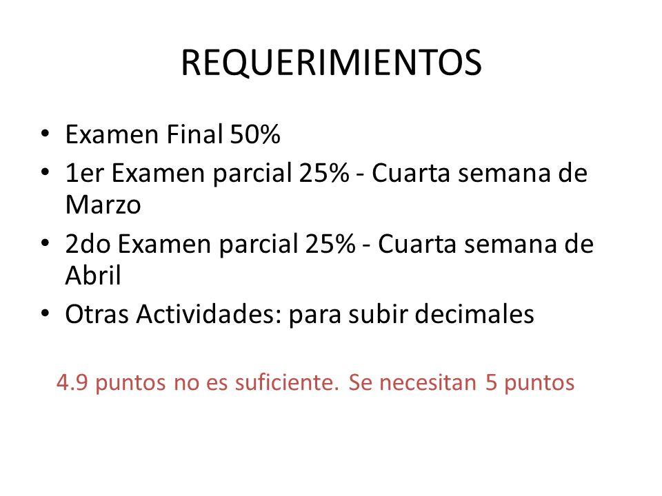 REQUERIMIENTOS Examen Final 50%