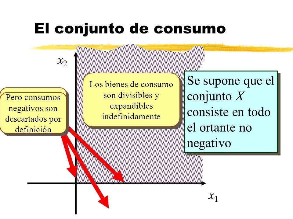 El conjunto de consumox2. Se supone que el conjunto X consiste en todo el ortante no negativo.