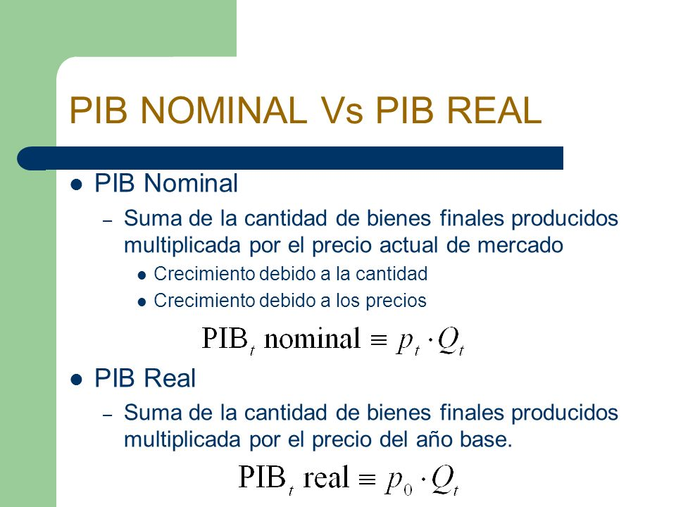 PIB NOMINAL Vs PIB REAL PIB Nominal PIB Real