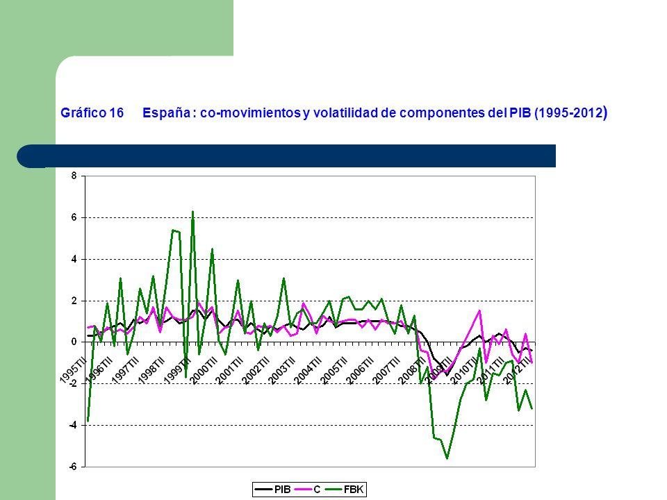 Gráfico 16 España : co-movimientos y volatilidad de componentes del PIB (1995-2012)