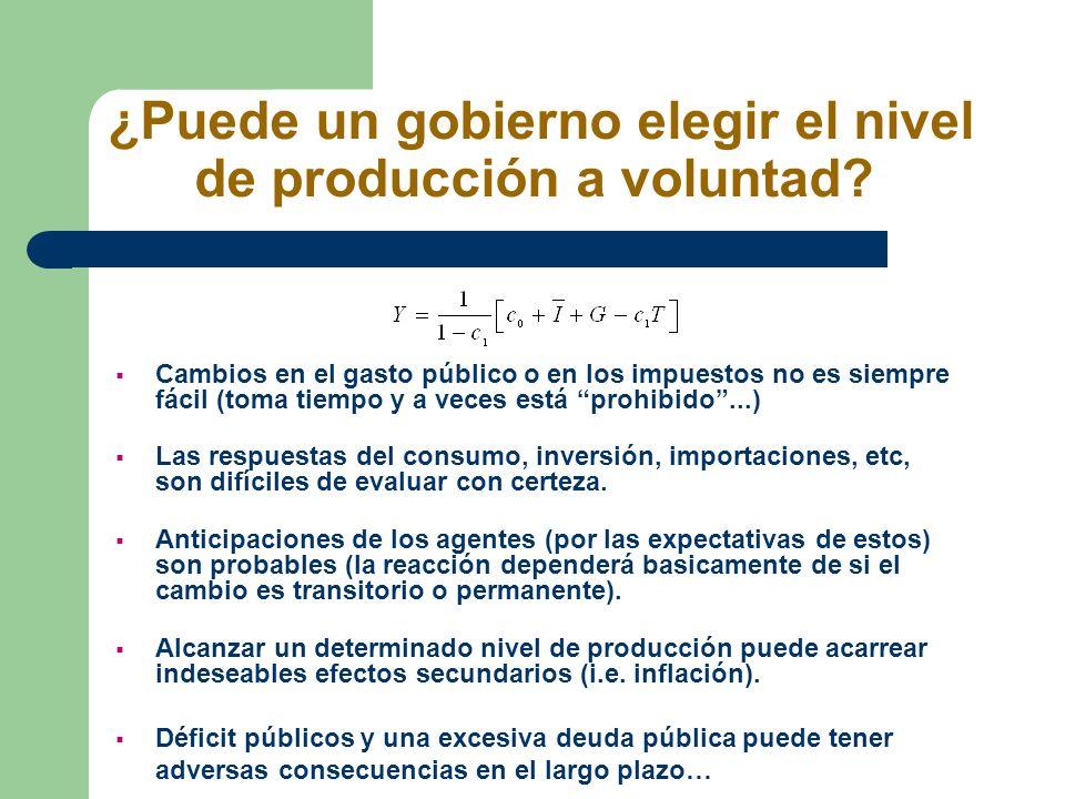 ¿Puede un gobierno elegir el nivel de producción a voluntad